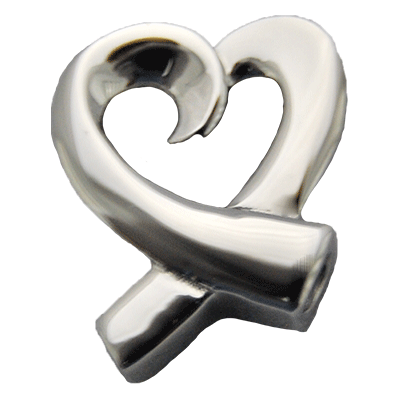 Stainless Ribbon Heart Memorial Jewelry