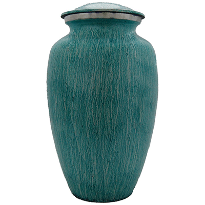 Teal Rain Cremation Metal Urn, Adult