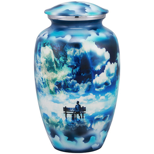 Cremation Metal Urn, Way To Heaven Blue -  Adult