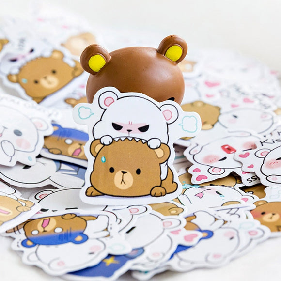 Milk & Mocha 45Pcs/Box Cute Bear Stickers Stationery Cartoon Adhesive Stickers For Decorative Bullet Journal Diary
