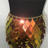 Sparkly Colorful Sequins Matching Sets Halter Low Cut Backless Crop Tops