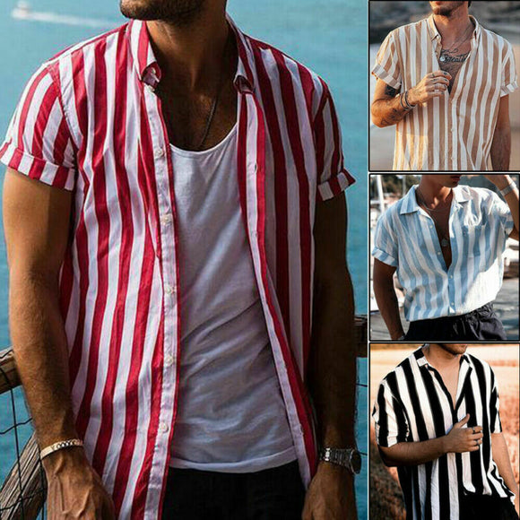 Men's Short Sleeve Striped Button Up Shirt Summer Casual