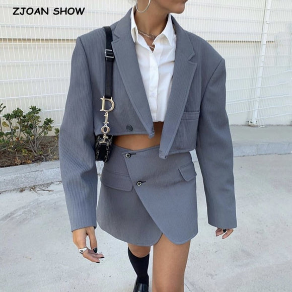 Vintage Sexy One Button Short Women Corduroy Blazer High Waist Irregular Cross Slit Mini Skirt Long Sleeve Suits