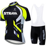 Fluorescent Green STRAVA Cycling Jersey sets red Bicycle Short Sleeve Cycling Clothing Bike