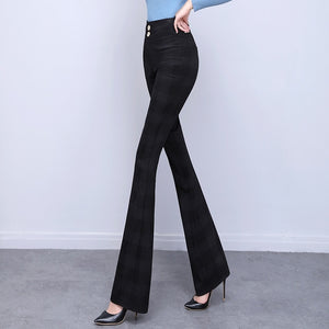 #1957 Black Bell Bottom Pants Women High Waisted