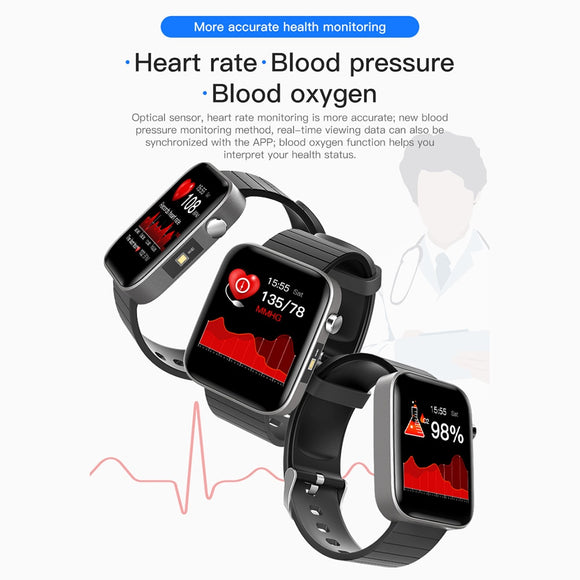 Heart Rate Sleep Monitor Fitness Tracker T68 Blood Pressure Monitors Smartwatch Touch Smart Bracelet Watch Reminder