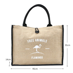 FREE ANIMALS Flamingo & Owl Natural Linen Tote Bags