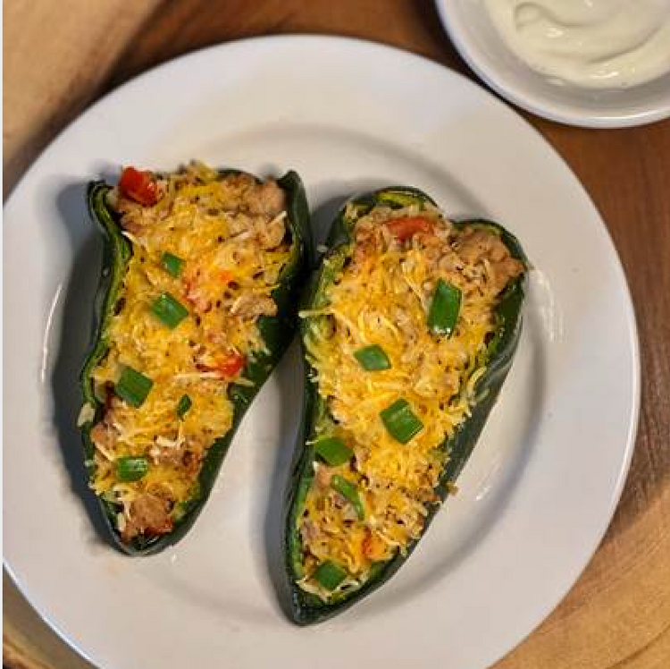 Jennifer Danella's Turkey Stuffed Poblano Peppers w/ Lime Crema