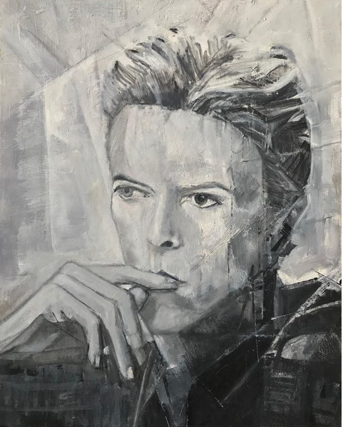David Bowie Cubist painting by William Wright