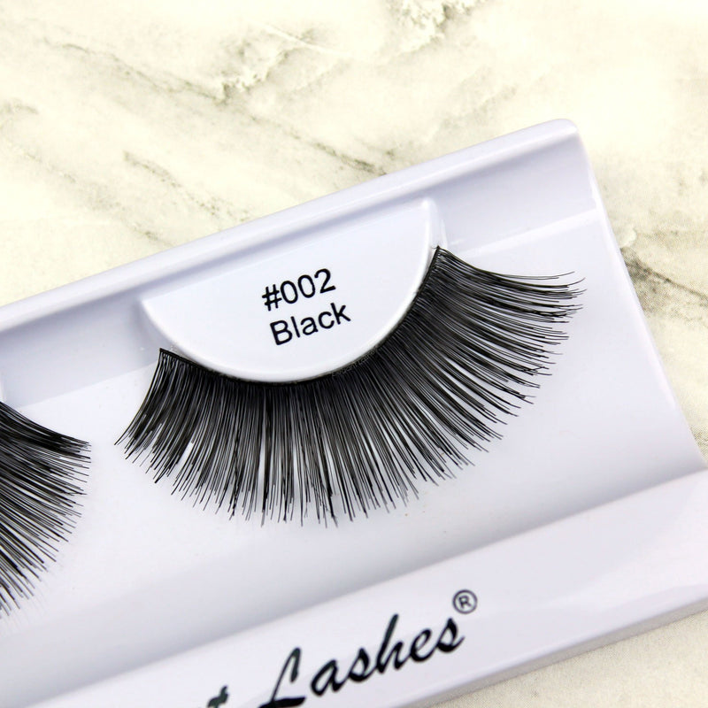 Elegant Lashes #002 Black  | Long Glam 100% Natural Human Hair Bulk False Eyelashes