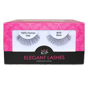 bulk wholesale natural-looking false eyelashes | Elegant Lashes #006 Black Pro Dozen Pack 12 pairs