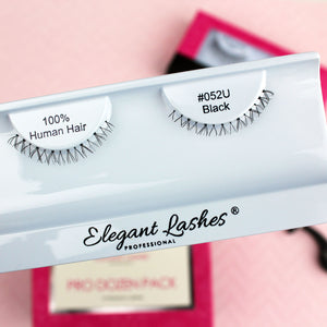 Elegant Lashes #052 Black  | Extra-Short Natural-Looking Bottom / Lower / Under False Eyelashes in Bulk | 100% Natural Human Hair