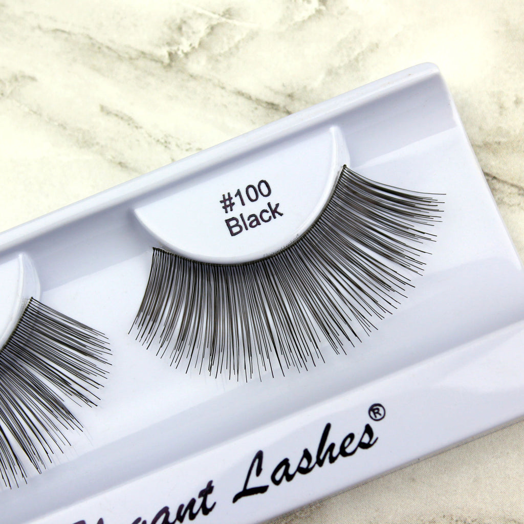 Elegant Lashes #100 Black long wispy light bulk false eyelashes