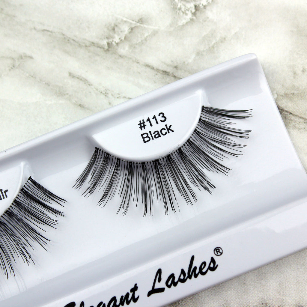 Elegant Lashes #113 Black long dramatic false eyelashes sold in bulk wholesale
