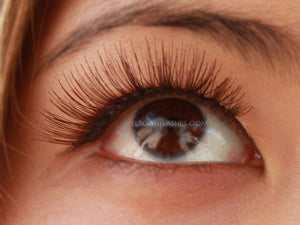 Sunny wearing Elegant Lashes #704 Brown Natural human hair false eyelashes