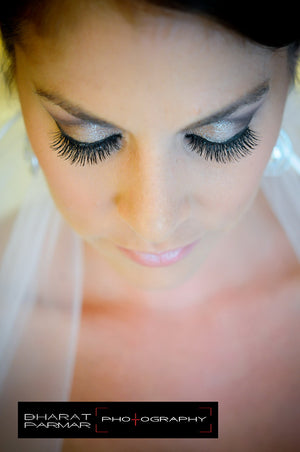 bride wearing Elegant Lashes #747S Black false eyelashes