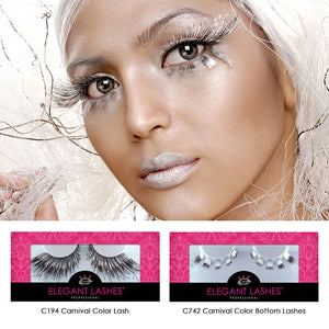 C742 Silver Foil 5-Piece Winged Carnival Color Bottom Lashes
