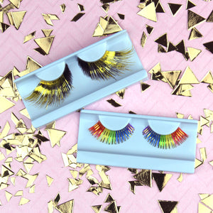 rainbow and gold false eyelashes for Pride | Elegant Lashes C181 color carnival clown eyelashes in bulk