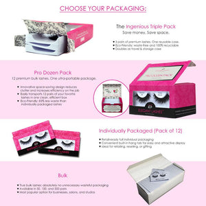 Elegant Lashes bulk packaging options, wholesale false eyelashes