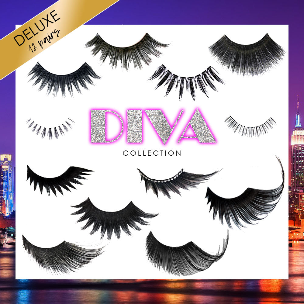 12-piece collection of Premium Drag False Eyelashes | Elegant Lashes Diva Collection (Deluxe)