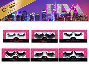6-piece collection of Premium Drag False Eyelashes | Elegant Lashes Diva Collection (Deluxe). Includes 301 lashes, queenie w947 drag eyelashes, lolita, 199 lashes, 034, 535L