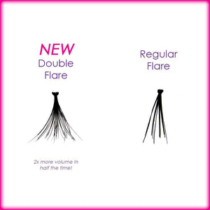 Elegant Lashes Double Flare vs. Regular Flare Individual Eyelash Cluster