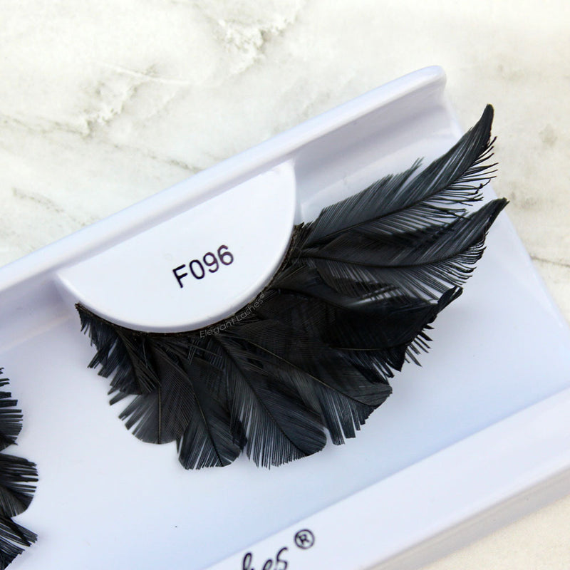 F096 giant black feather eyelashes