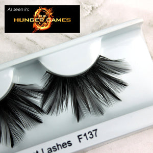 Long black feather false eyelashes worn by Mockingjay Katniss Everdeen in The Hunger Games  | Elegant Lashes F404
