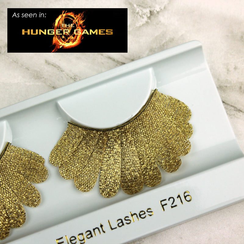 Gold fabric vegan feather false eyelashes as seen in The Hunger Games  | Elegant Lashes F216