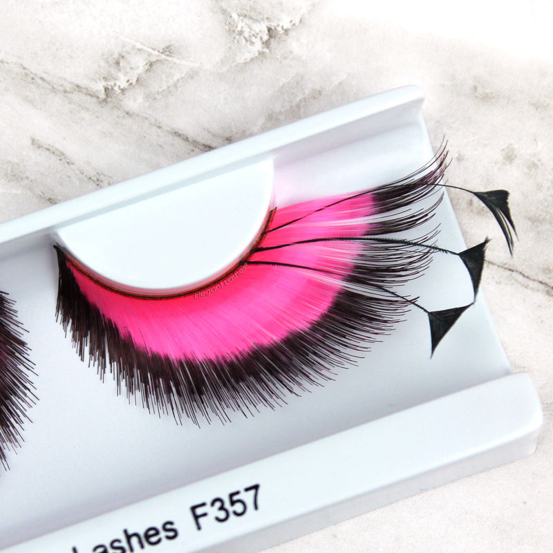 giant pink feather drag queen false eyelashes | Elegant Lashes F357