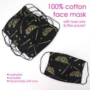 Reusable Cloth Face Mask with Filter Pocket & Nose Wire