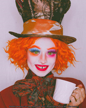 @sn0ok wearing Elegant Lashes G201 Spiky Drag Glow + W544 Spiked Orange Wild Color lashes _Mad Hatter makeup