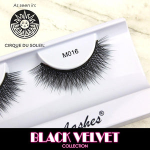 cruelty-free vegan synthetic smoky glam volume false eyelashes | Elegant Lashes M016 Black Velvet