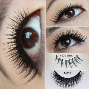 Elegant Lashes M033 cruelty-free mystic lashes + 220 spiky natural lashes stacked