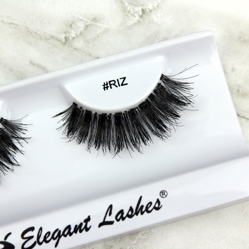 Double-stacked glam wispy 100% Natural human hair false eyelashes | Elegant Lashes #RIZ