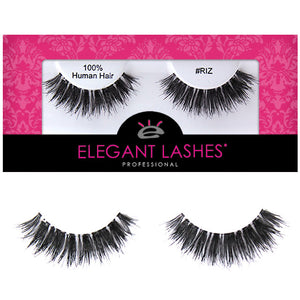 Double-stacked glam wispy 100% Natural human hair false eyelashes | Elegant Lashes #RIZ  (Triple Pack - 3 pairs multi pack)