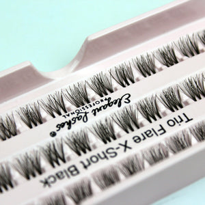 Elegant Lashes Trio Flare X-Short Black Brown Individual Cluster False Eyelashes for beginners