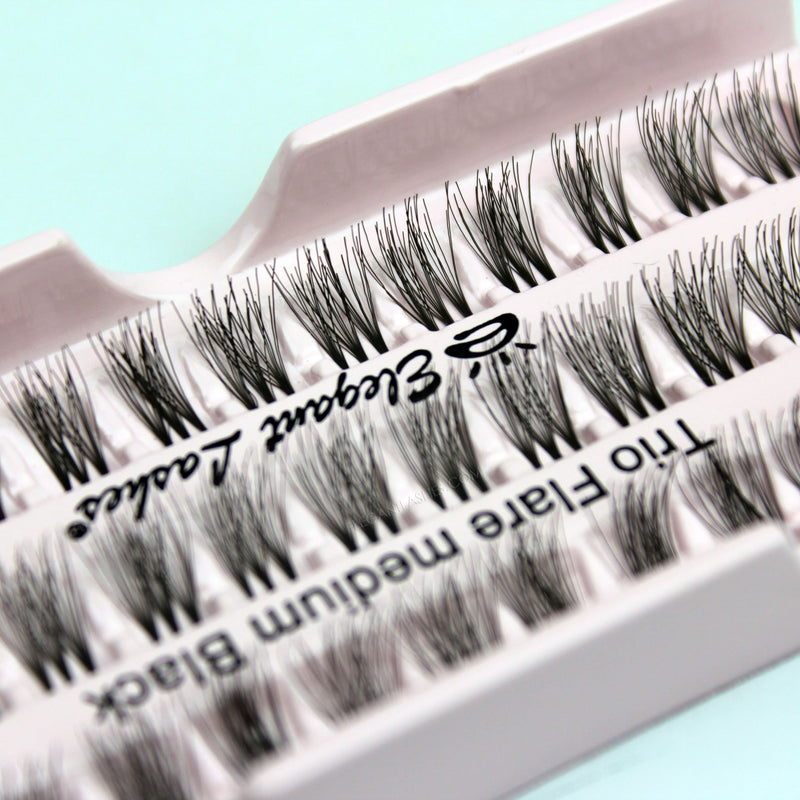 Elegant Lashes Trio Flare Medium Black Brown Individual Cluster False Eyelashes for beginners