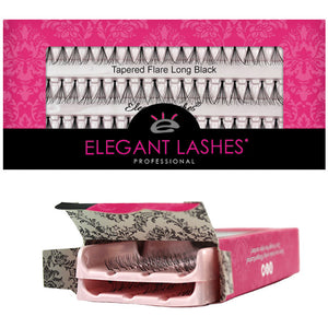 Elegant Lashes Tapered Flare X-Short, Short, Medium, Long Black | Double Pack