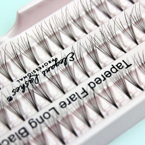 Elegant Lashes Tapered Flare Long Black Individual cruelty-free Faux Mink Cluster False Eyelashes