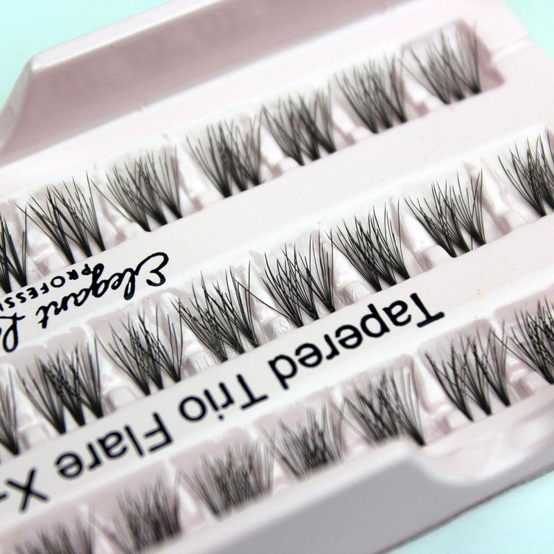 Elegant Lashes Tapered Trio Flare X-Short XS Black Individual cruelty-free Faux Mink Cluster False Eyelashes