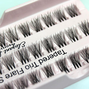 Elegant Lashes Tapered Trio Flare Short Black Individual cruelty-free Faux Mink Cluster False Eyelashes