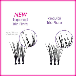 Elegant Lashes Tapered Trio Flare Faux Mink Individual Lash vs. Regular Trio Flare Clusters