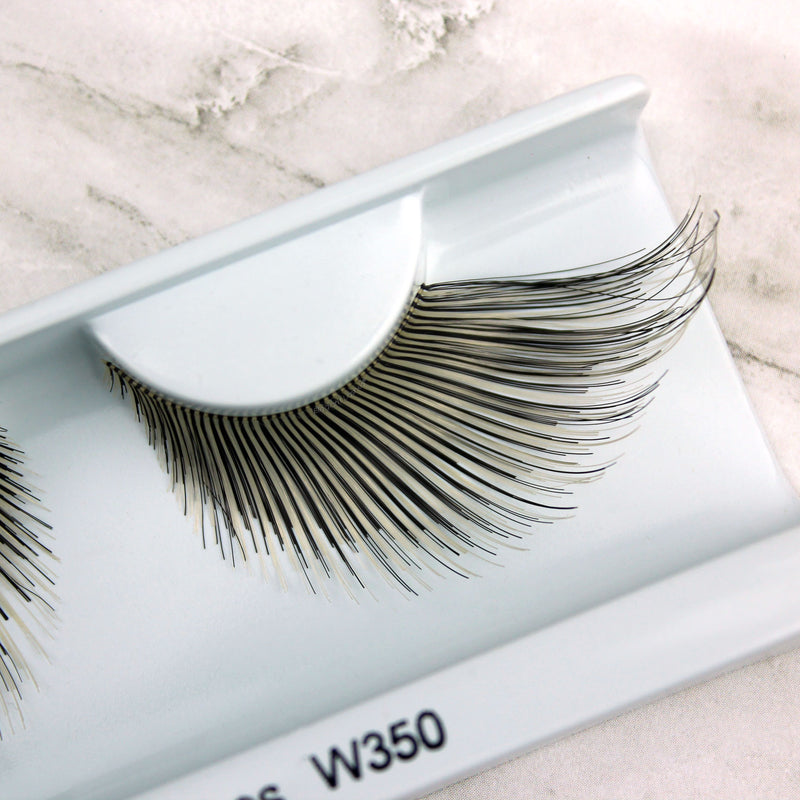 Elegant Lashes W350 Black & White jumbo oversize drag cat eye false eyelashes