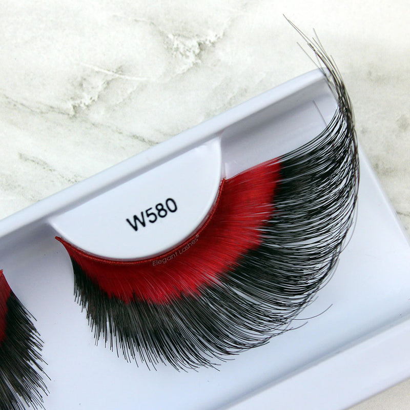 W580 jumbo giant red & black drag costume lashes