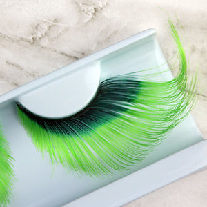 Giant green false eyelashes | Elegant Lashes W581 Shamrock - color drag lashes for theater, drag, Halloween, St. Patrick's Day, and party