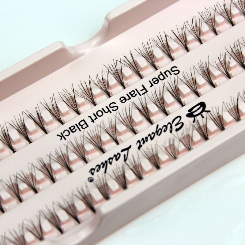Elegant Lashes Super Flare Short Black Individual Cluster False Eyelashes