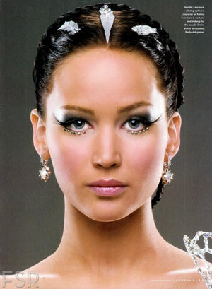 The Hunger Games Katniss Everdeen (Jennifer Lawrence) in Mockingjay makeup wearing Elegant Lashes F137 Black Feather False Eyelashes