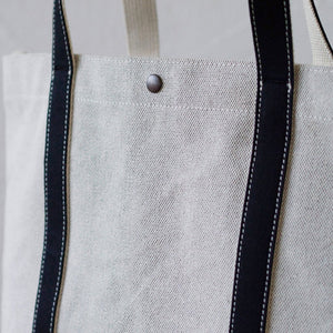 Thick Chambray Canvas Colored Handle Tote M