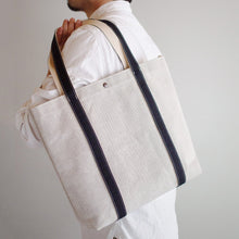 Load image into Gallery viewer, Thick Chambray Canvas Colored Handle Tote M